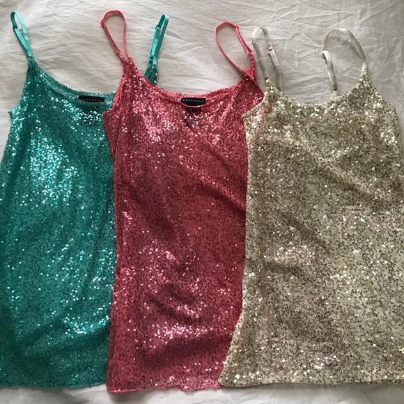 Metaphor Dresses & Skirts - Babydoll sequin slip dress matching set of three
